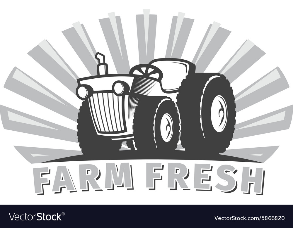tractor emblem design template royalty free vector image