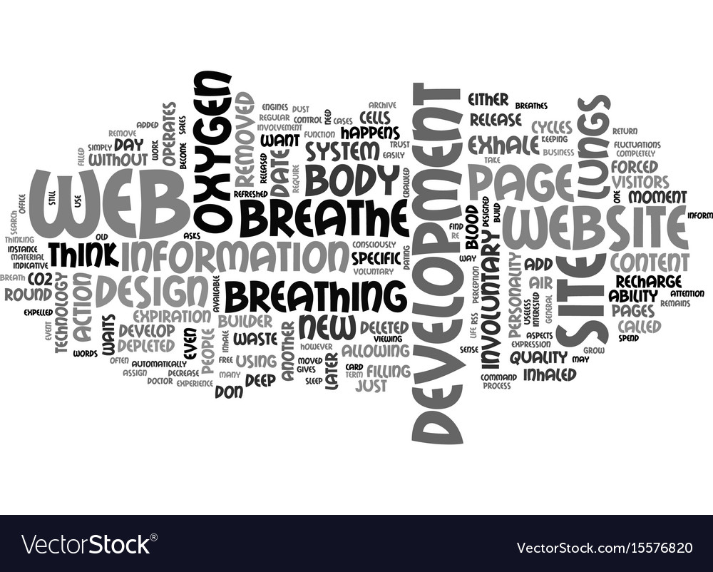 Web development breathe deep text word cloud