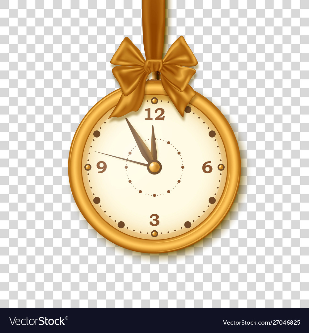 Christmas golden clock with ribbon and bow