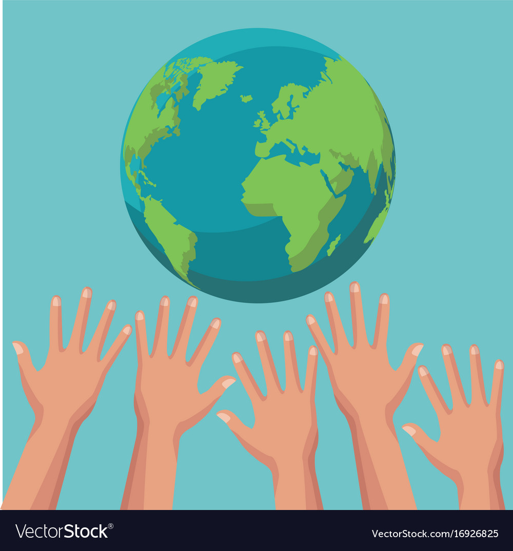 Color poster group of human hands trying to reach