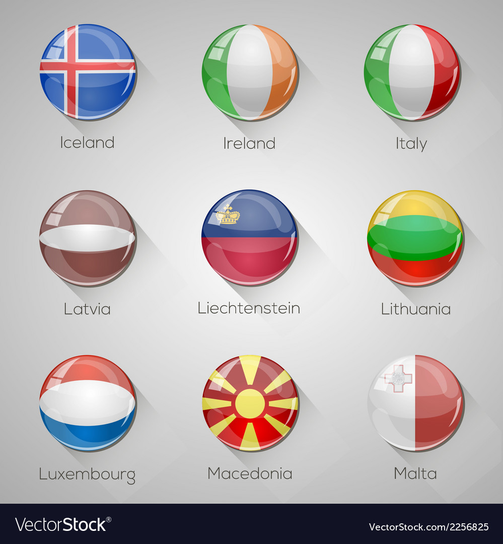 European flags set glossy buttons