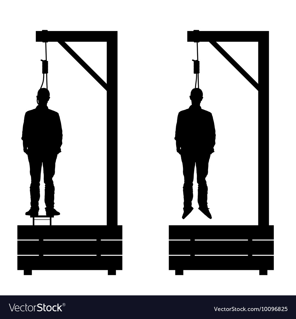 Gallows set in black color with man on it vector image
