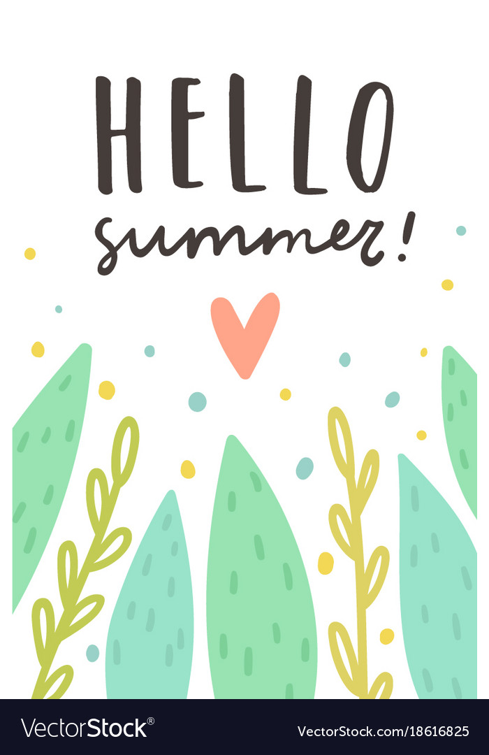 Hello summer cute plants and text