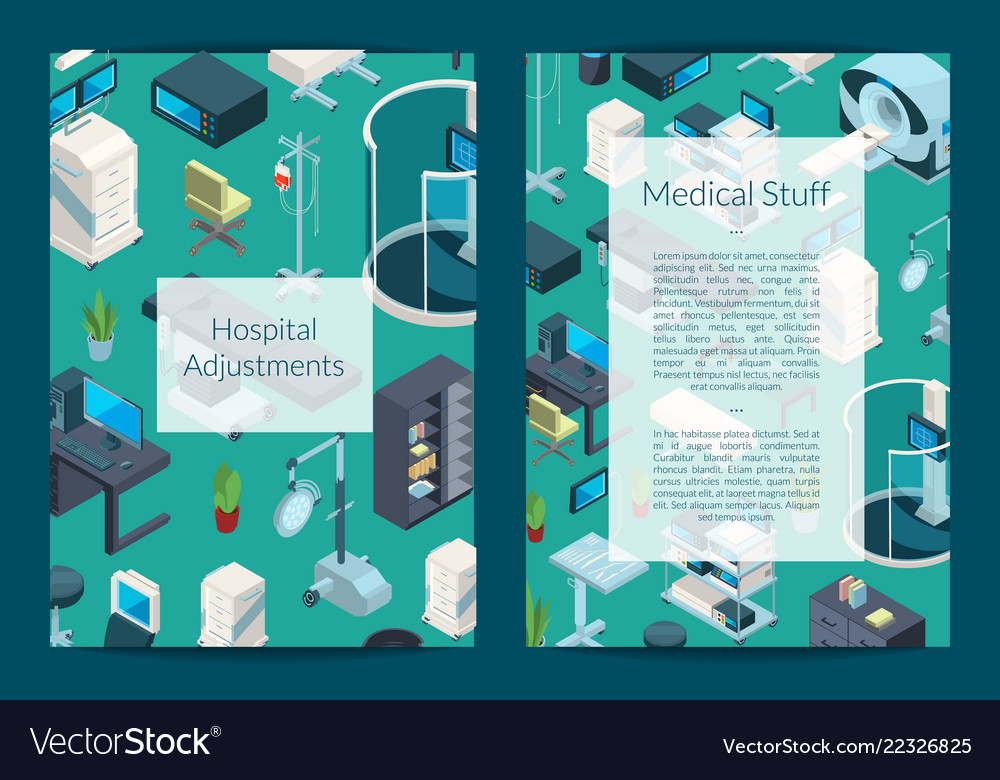 Isometric hospital icons card or flyer