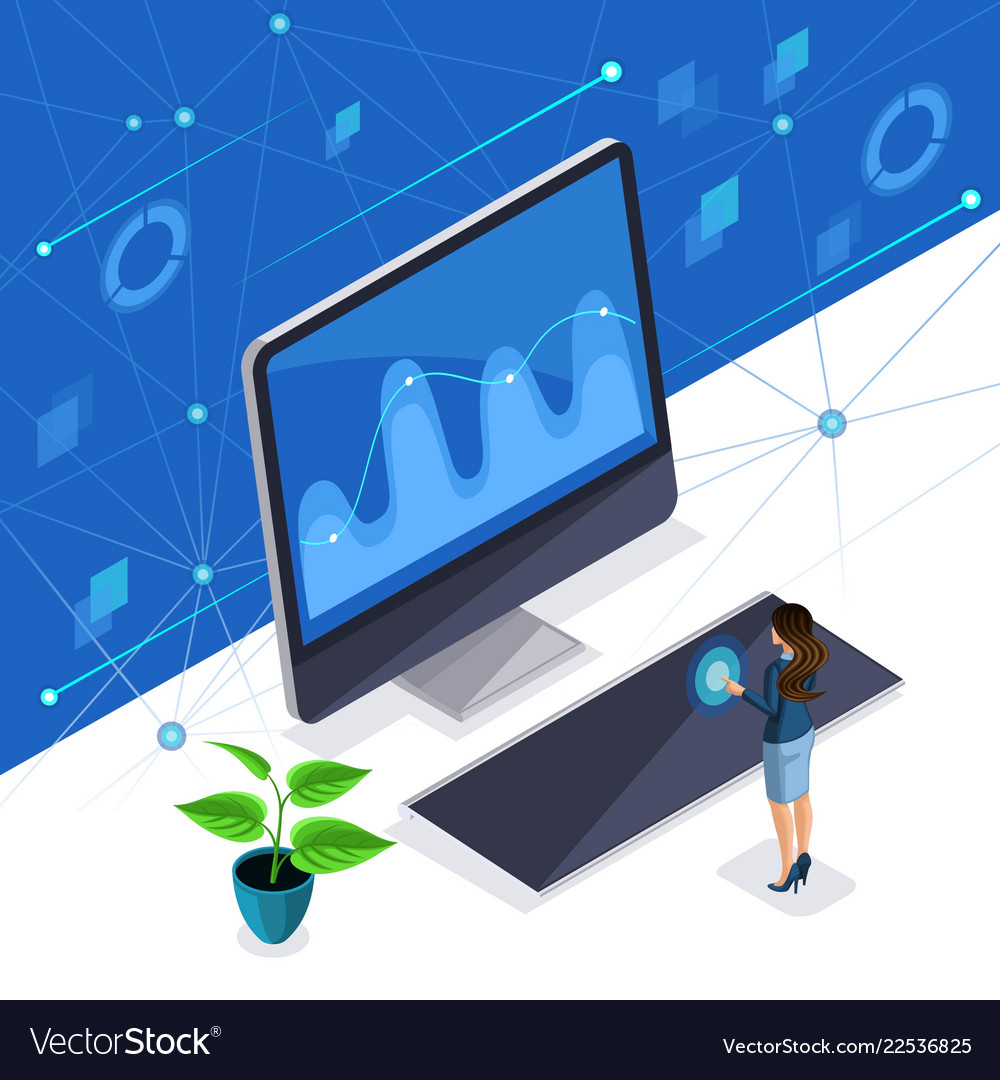 Isometric woman a stylish business lady manages