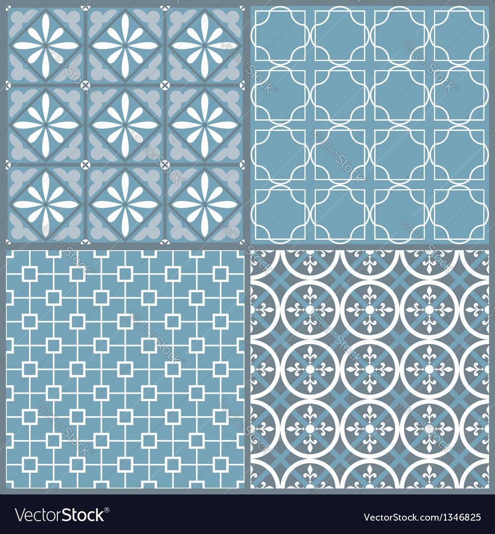 Set of four seamless geometric pattern