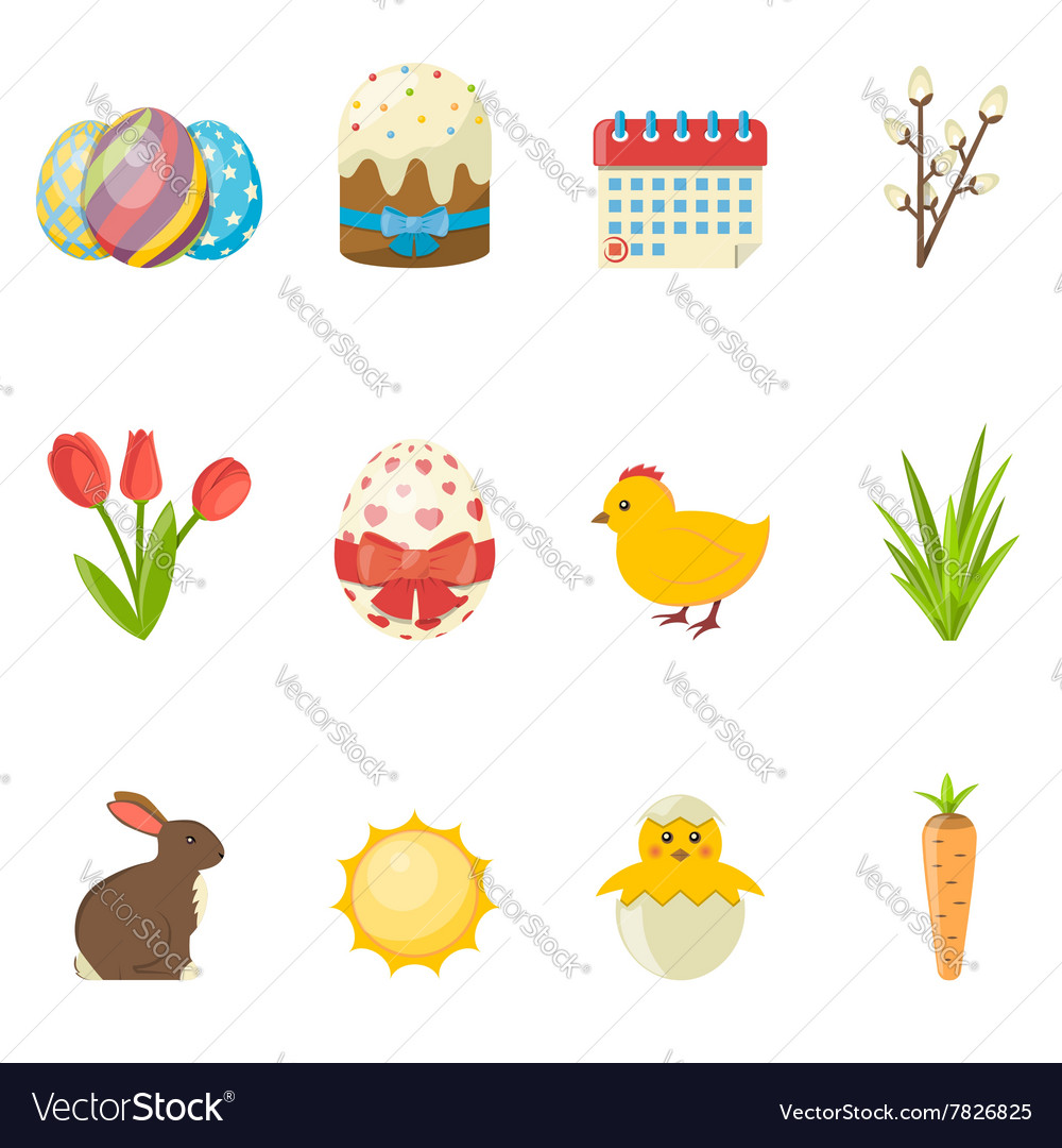 Set of Happy Easter icons flat