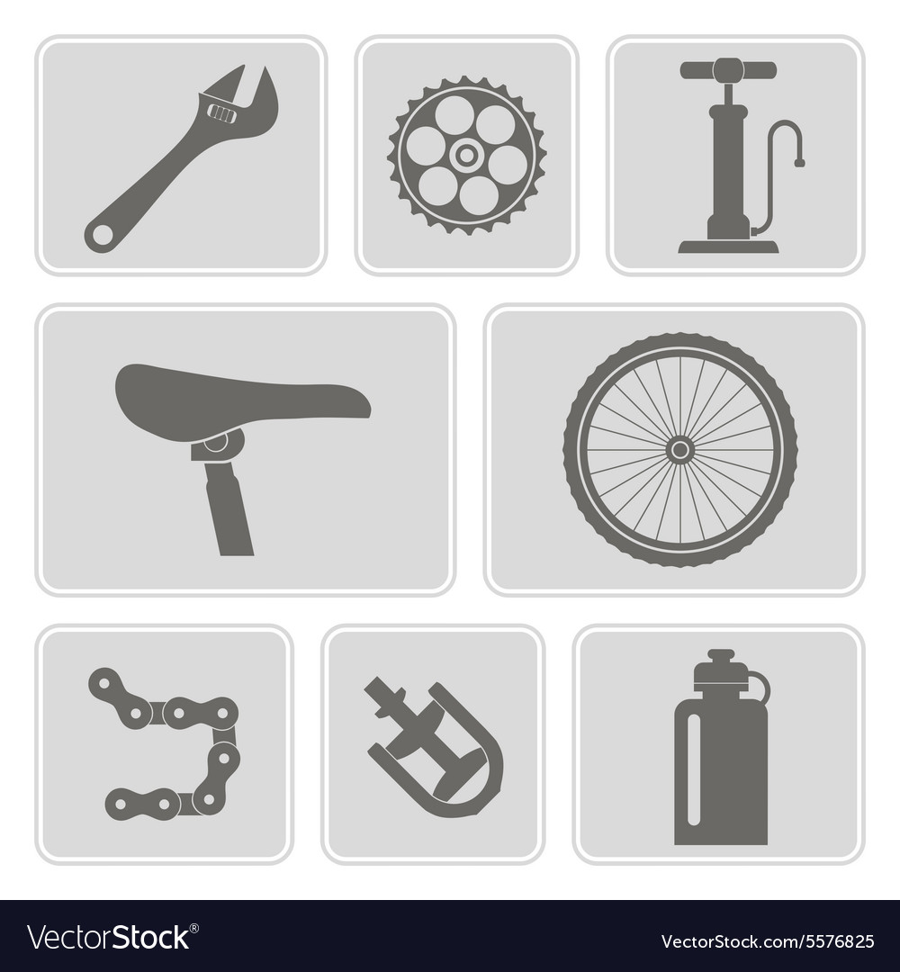 Set of monochrome icons with bicycle