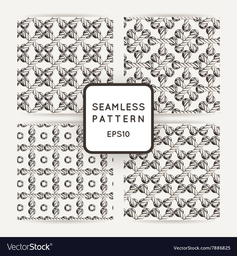 Set of seamless patterns with crossed and