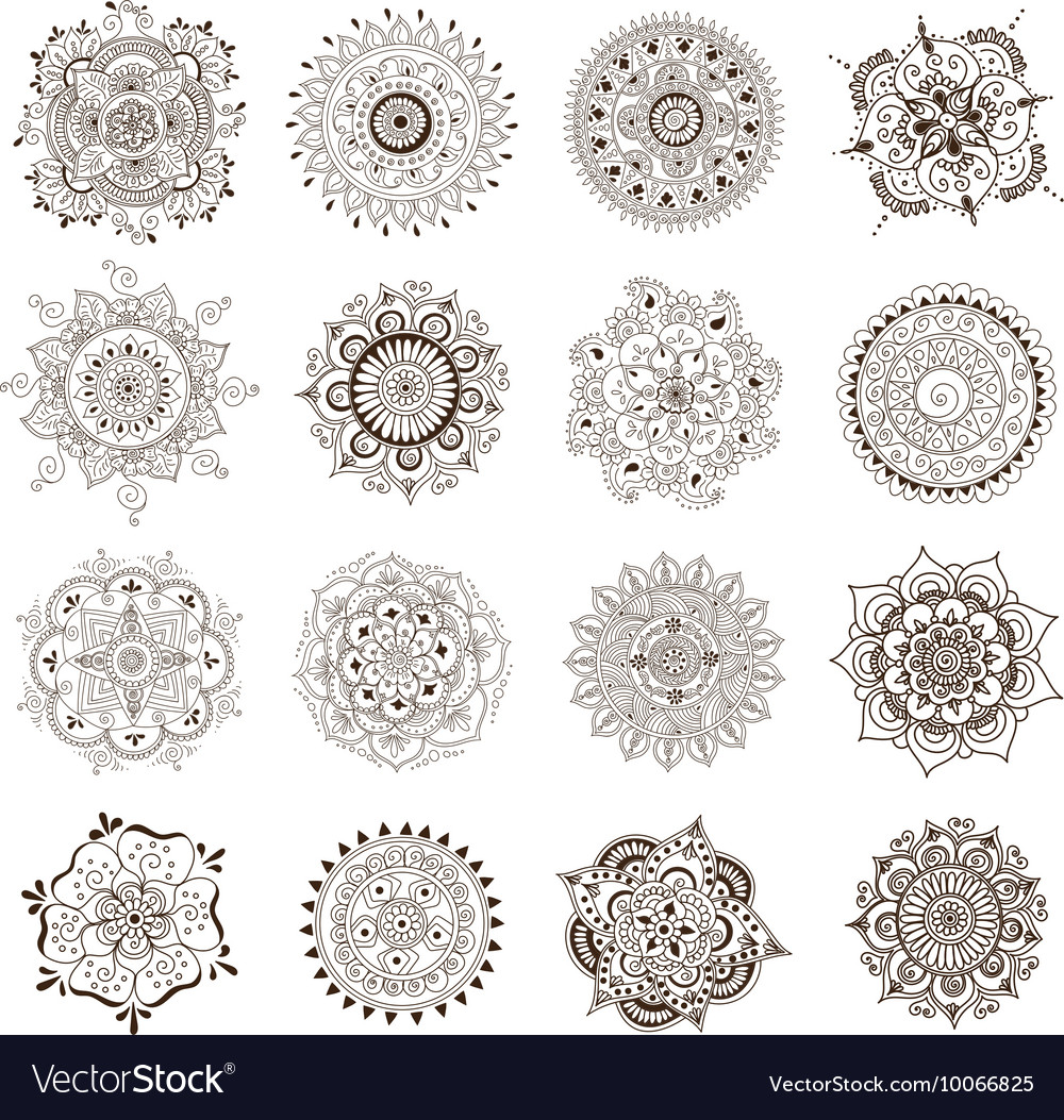Tattoo Henna Mandala Set Royalty Free Vector Image