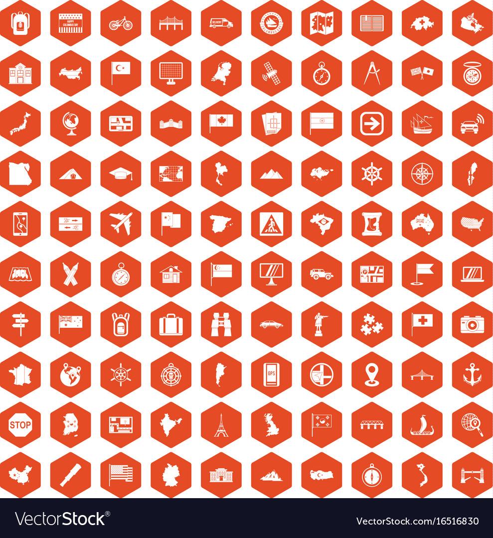 100 cartography icons hexagon orange