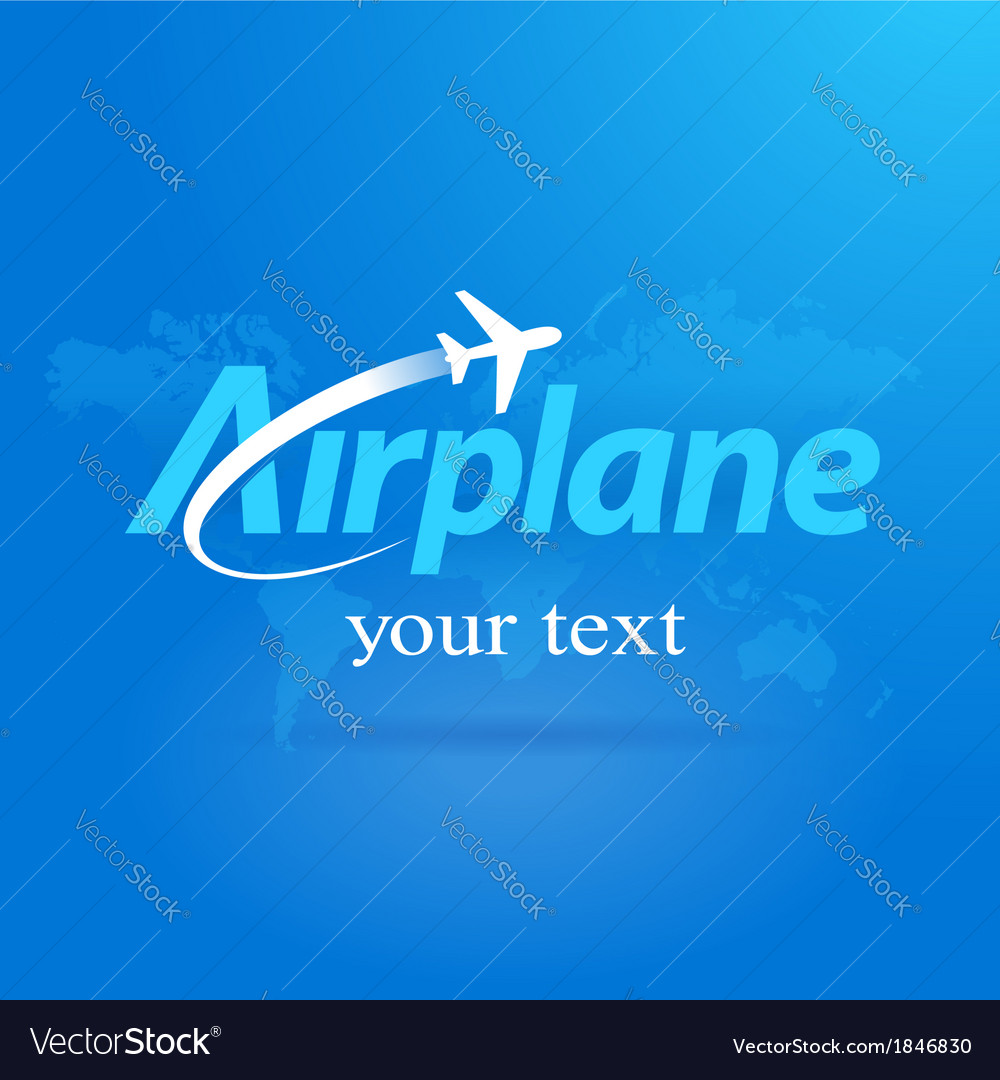 Airplane logo flight symbol emblem blue takeoff vector image
