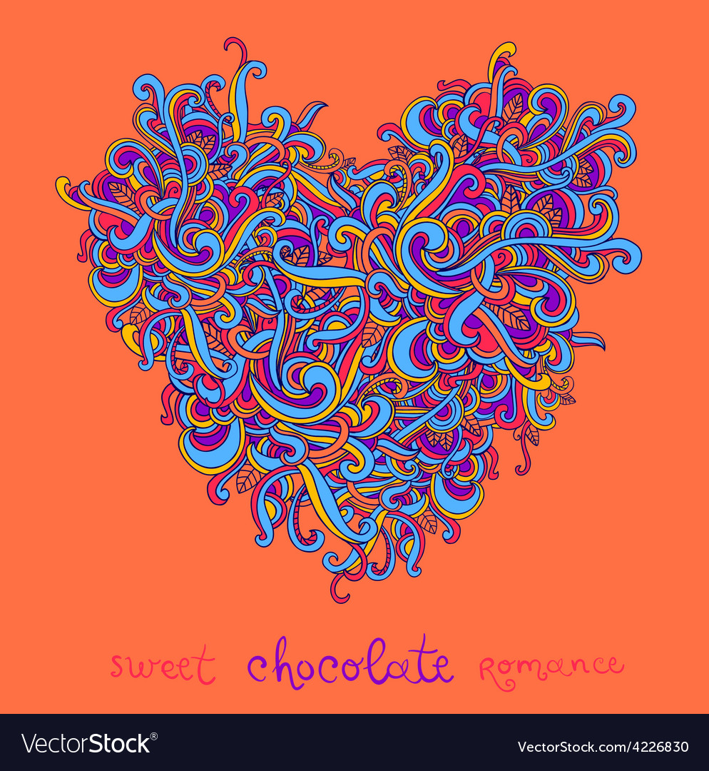 Background with abstract Heart curls