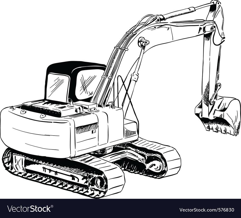 Black sketch of big excavator vector image