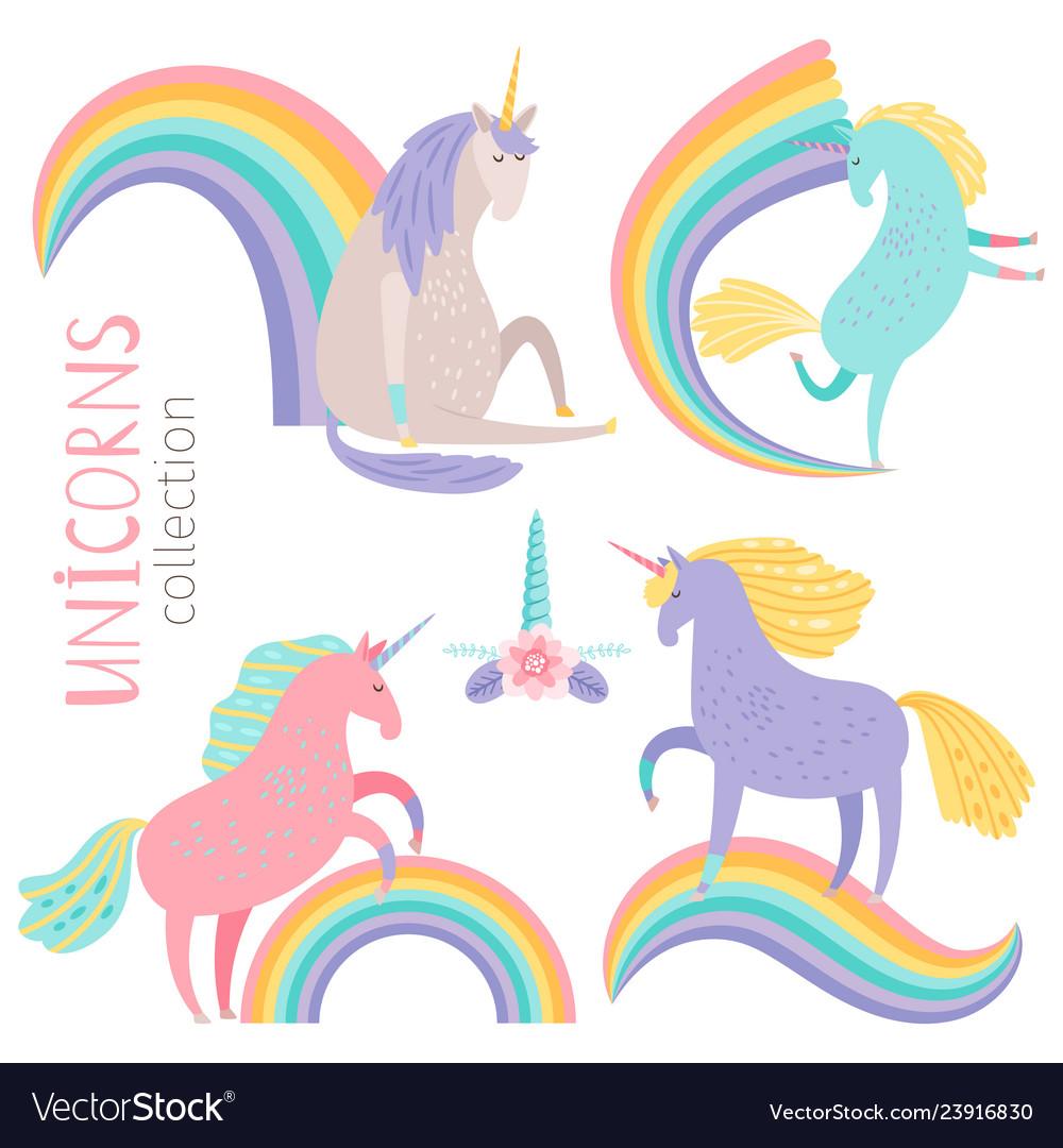 Cartoon character unicorns and rainbows