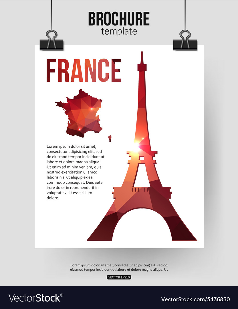 France travel background Brochure with France map