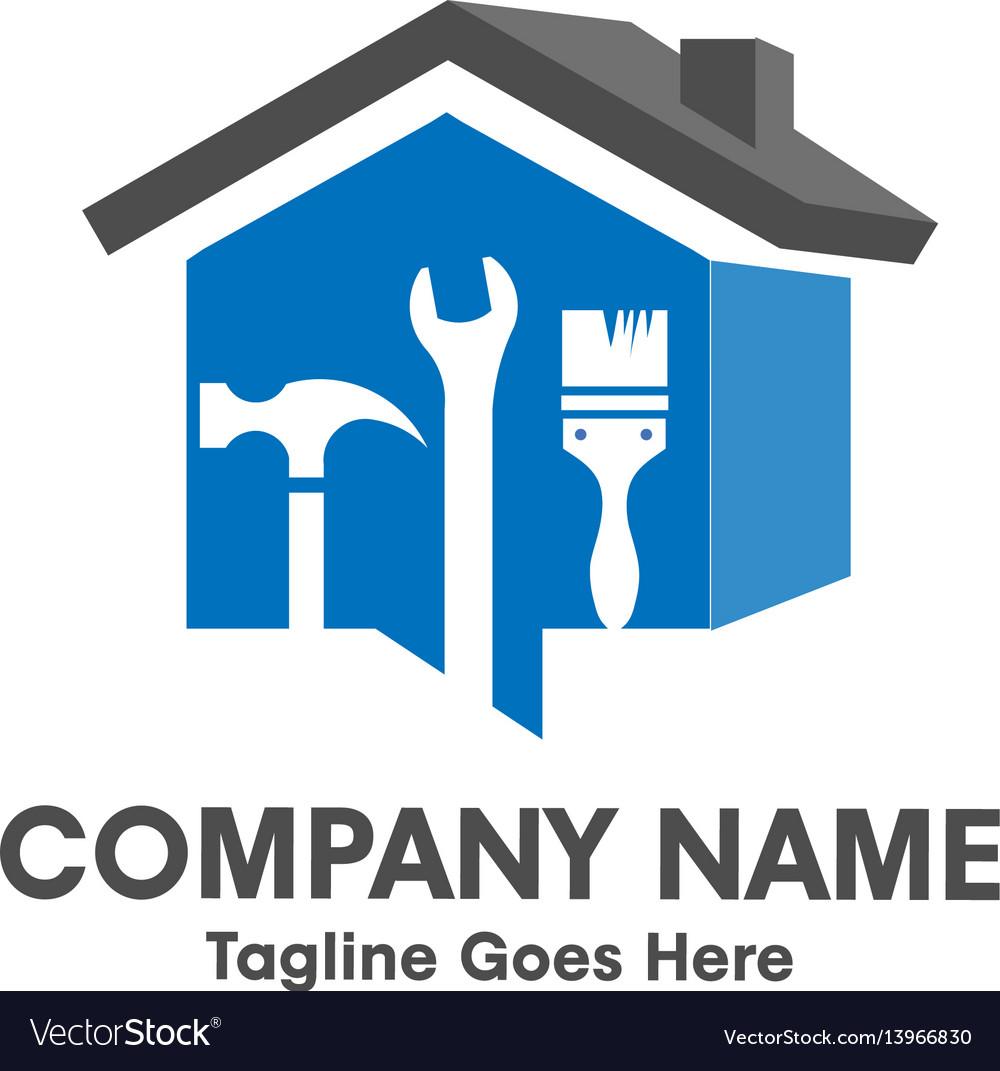Home repair emblem with tool and symbol of a 3d ho