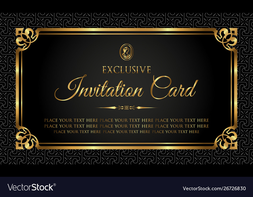 Invitation Card Exclusive Black And Gold Style
