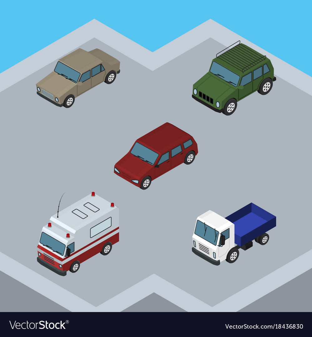 Isometric automobile set of auto lorry armored vector image