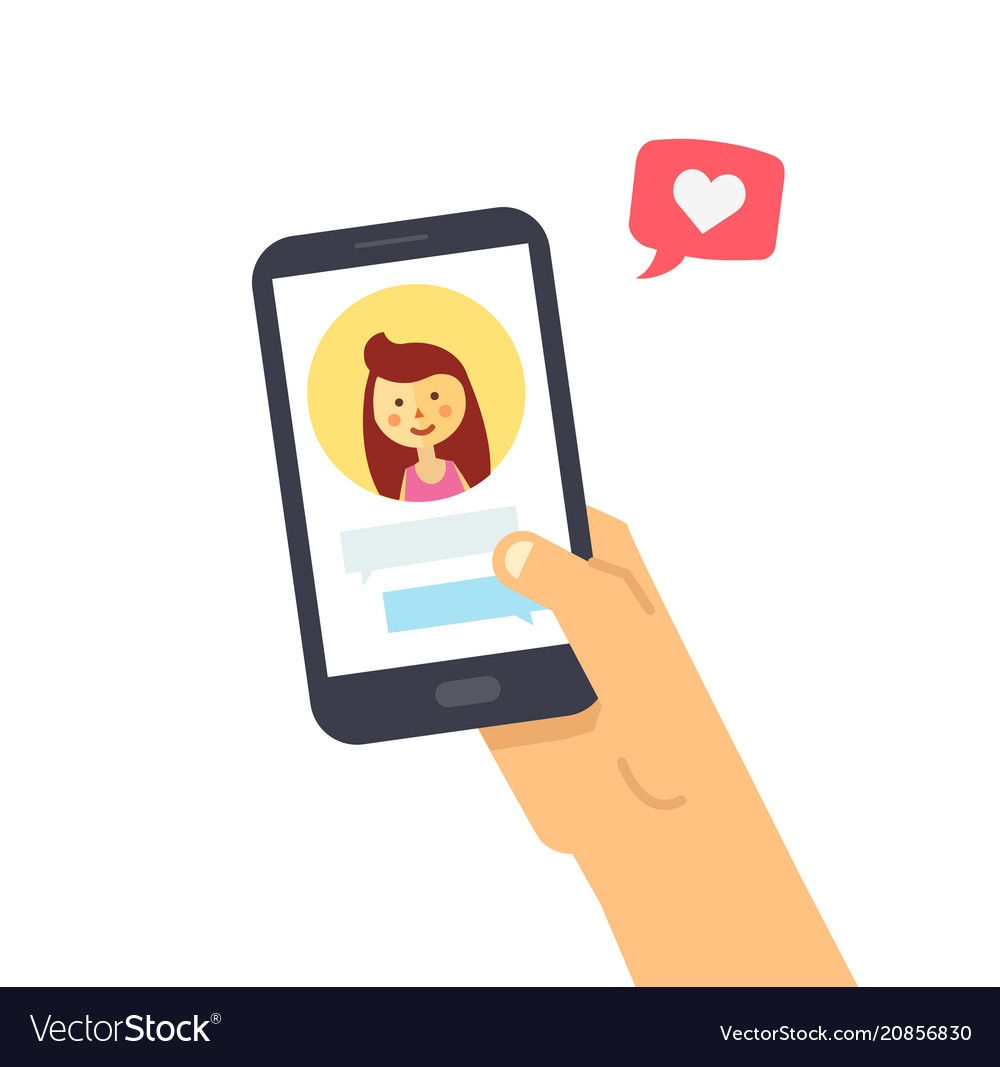 Male hand holding smartphone with girlfriend