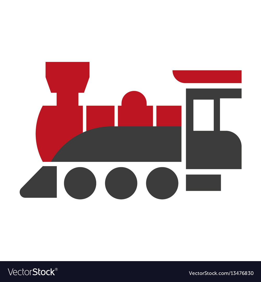 Old style steam engine locomotive icon isolated