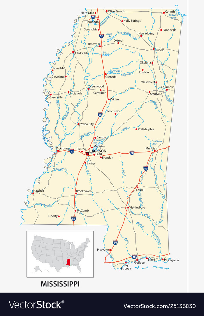 Road map us american state mississippi