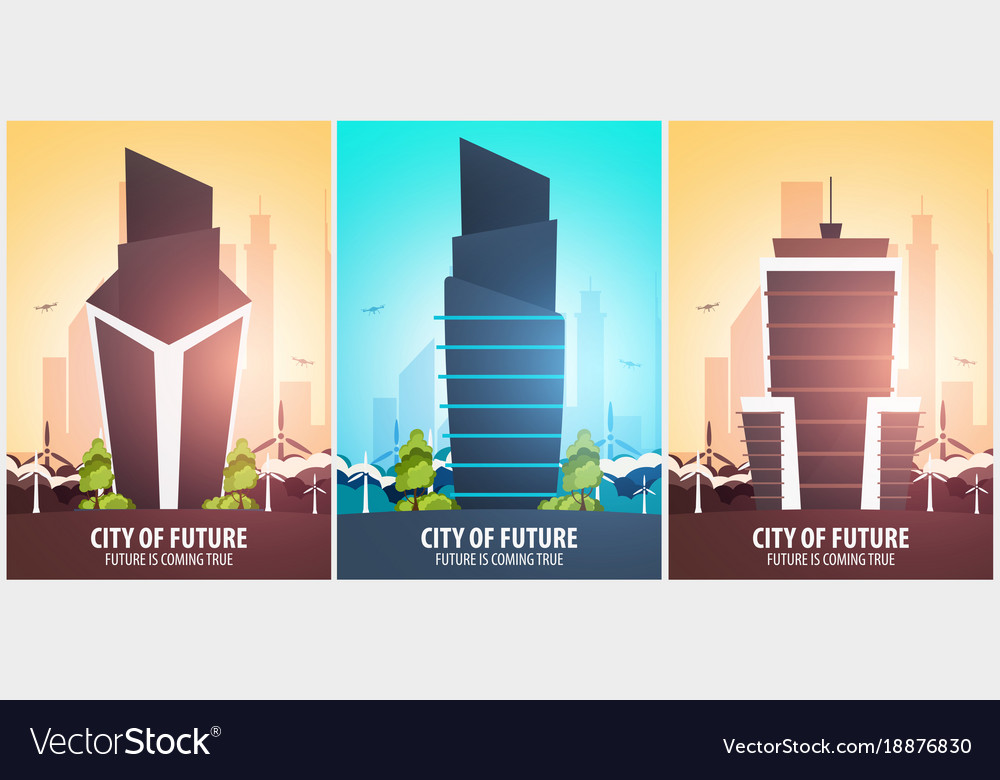 Set of flat style banners modern city houses