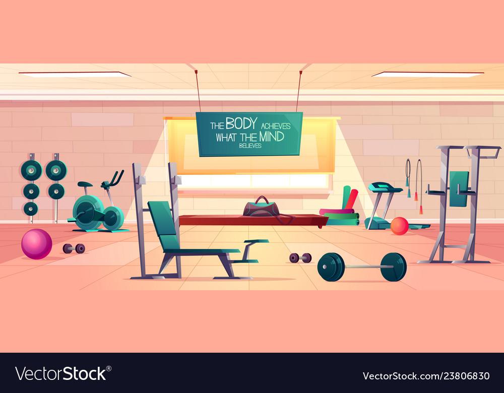 Sport Club Gym Interior Cartoon Background Vector Image