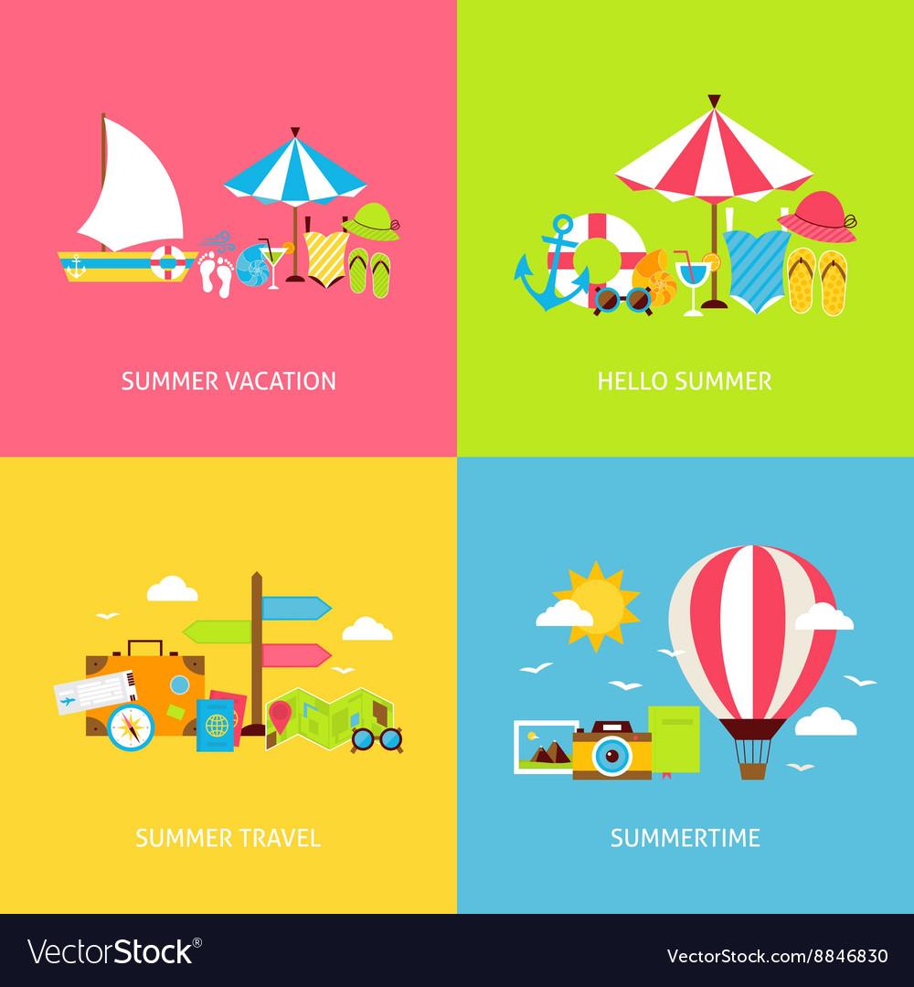 Summer Travel Flat Concepts Set