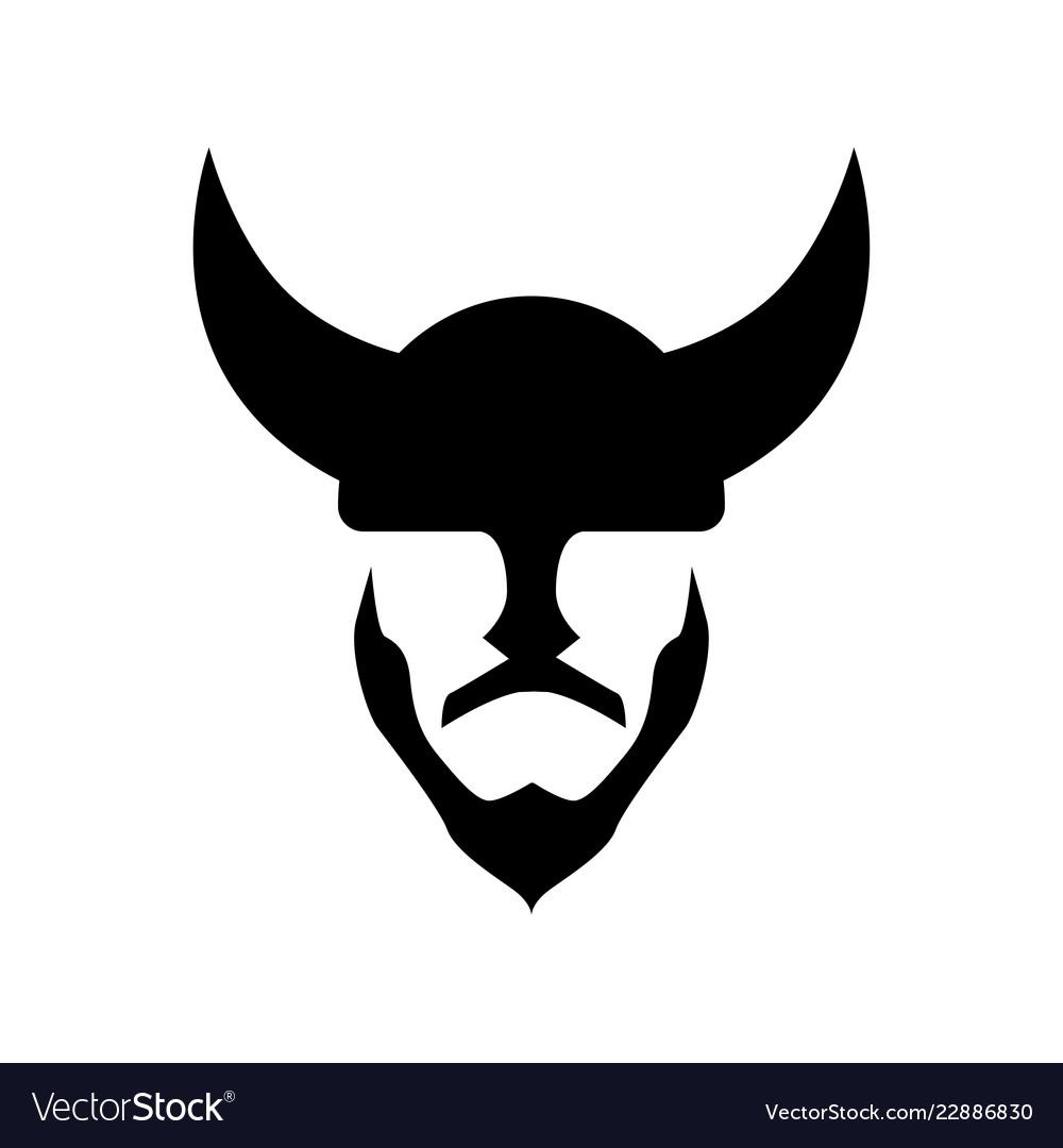 Viking in a horned helmet - silhouette of