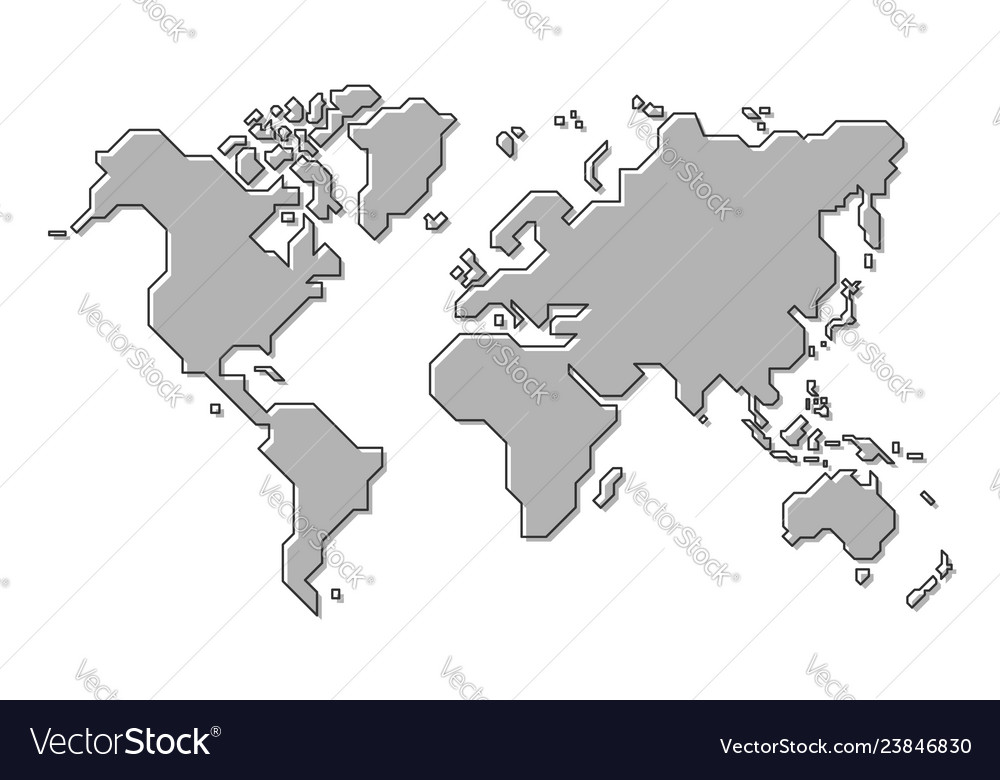 Simple World Map Outline World map simple cartoon and outline style Vector Image