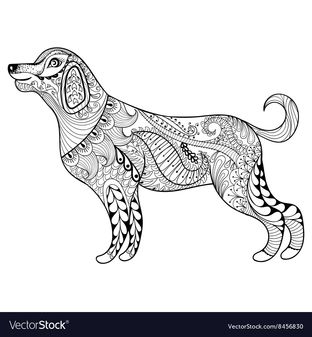 Zentangle dog print for adult coloring page