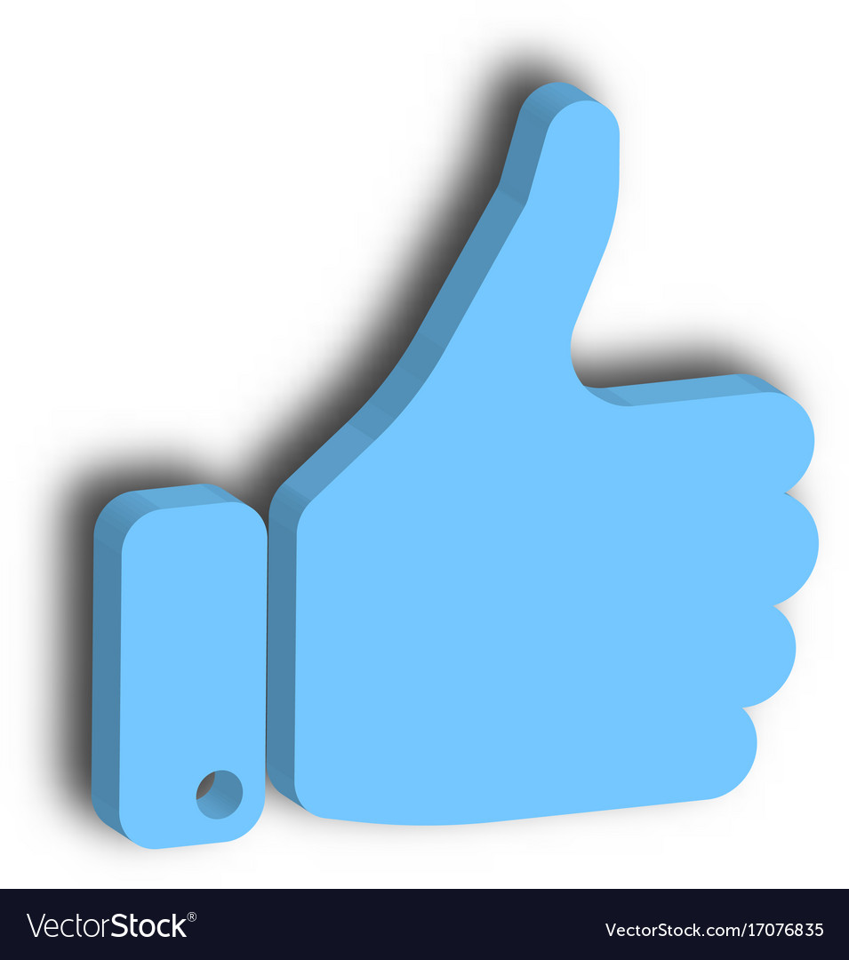 Blue hand with thumb up gesture of like agree