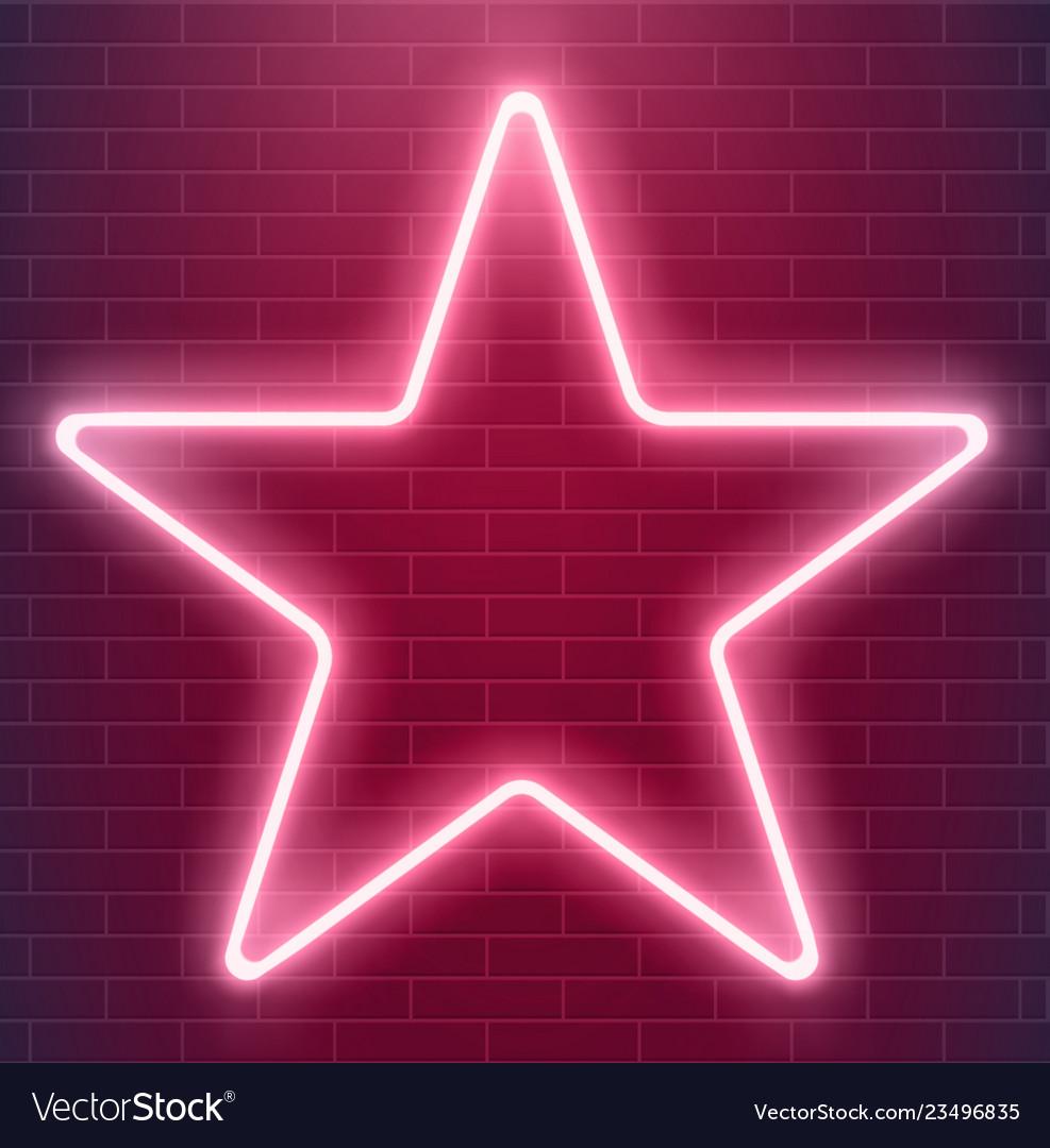 Bright disco design neon star glowing