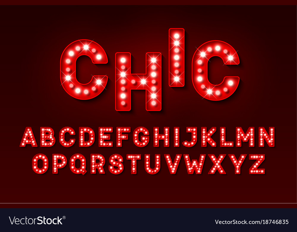 Broadway Style Retro Light Bulb Font Vector Image