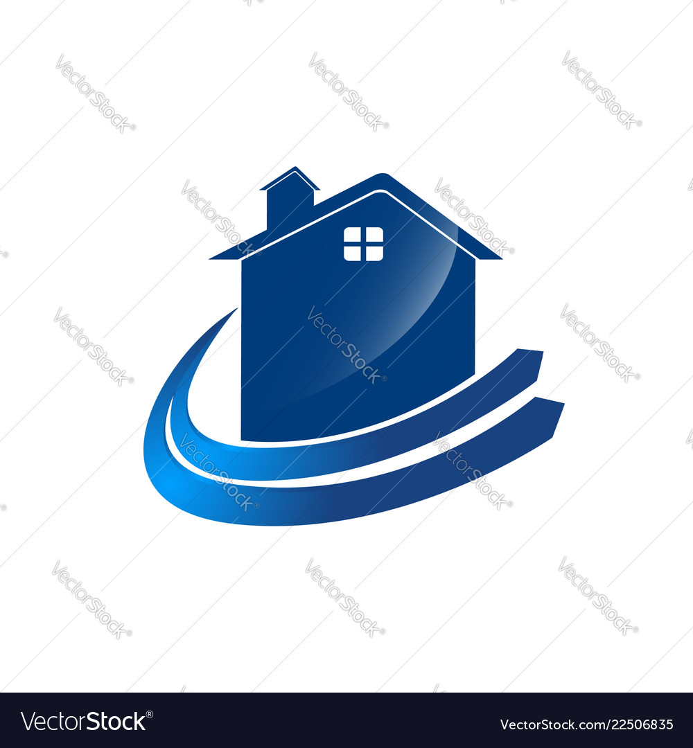 Check home logo template with blue color arrow