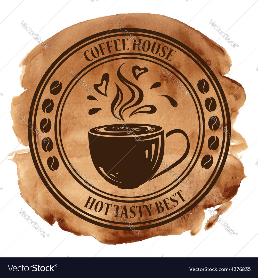 Coffee house stamp on a watercolor background