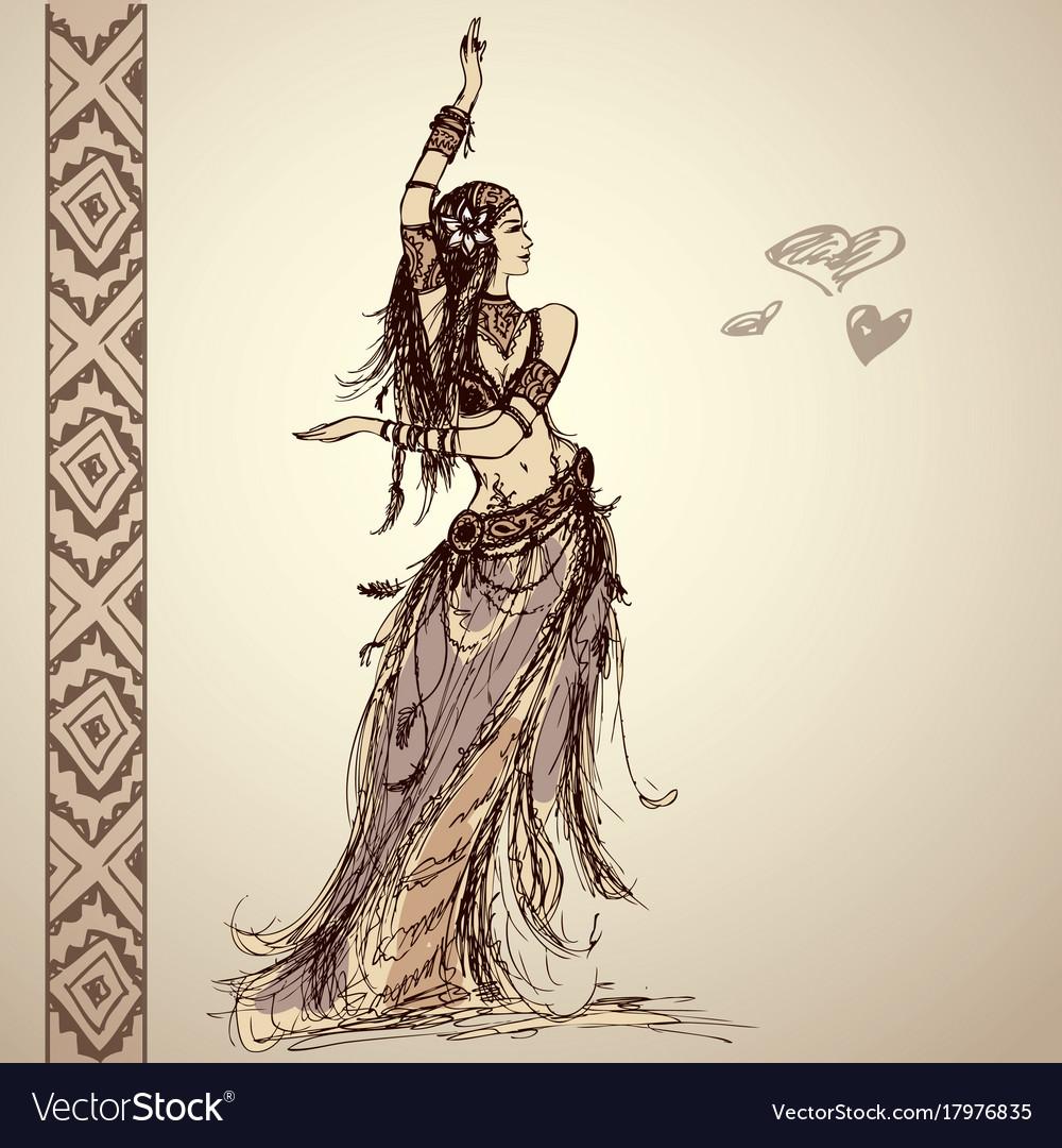 Dancing girl tribal hand drawing vector image