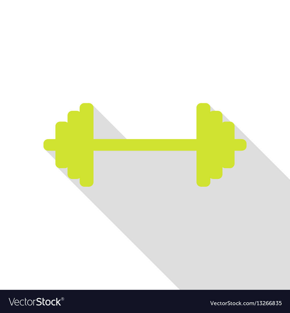 Dumbbell weights sign pear icon with flat style