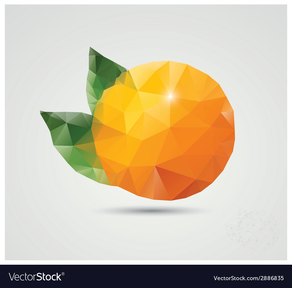 Geometric polygonal fruit triangles orange vector image