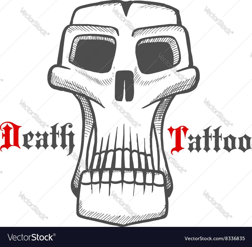 Gloomy skull or monster vintage sketch