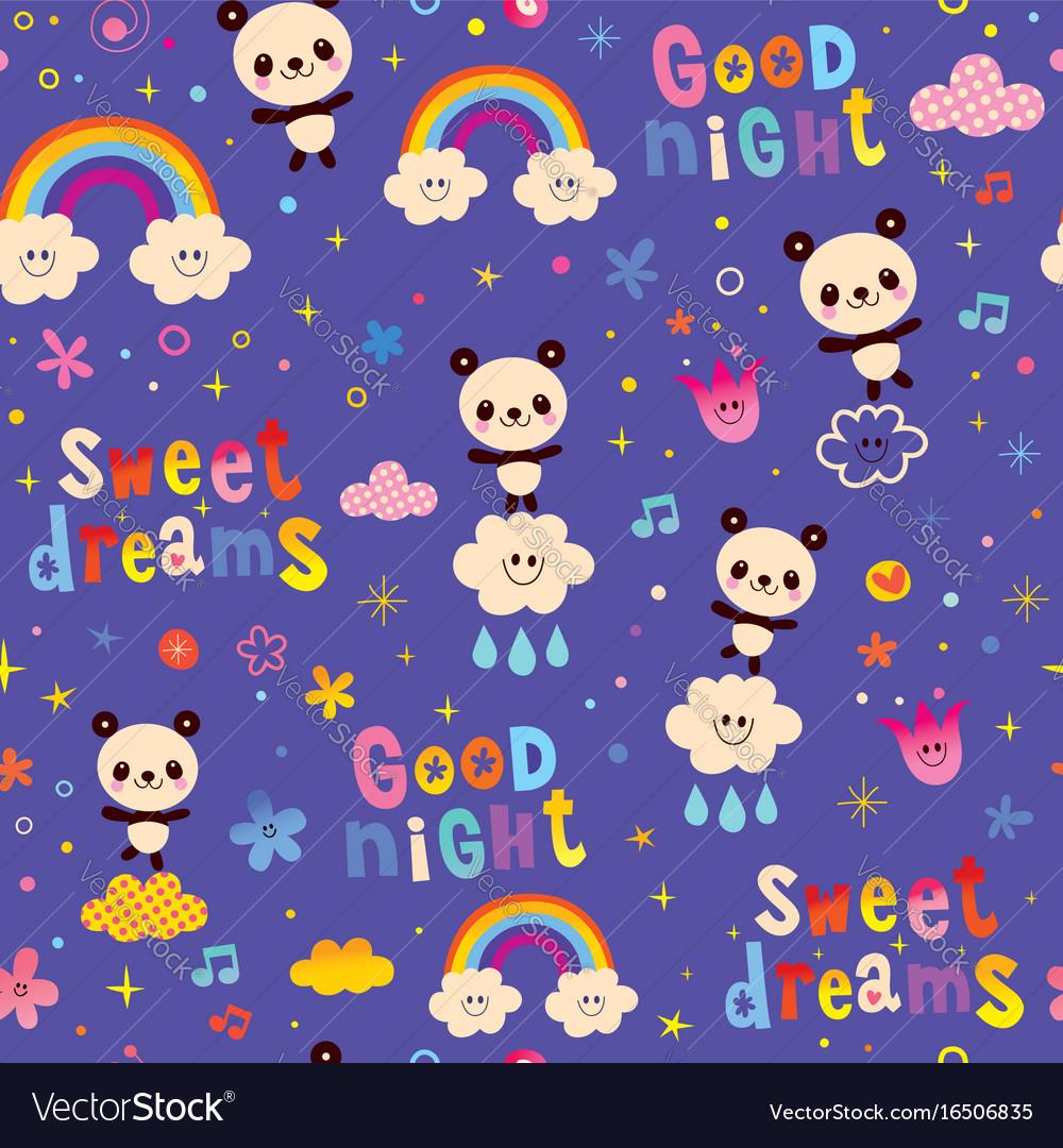 Good Night Sweet Dreams Kids Seamless Pattern Vector Image