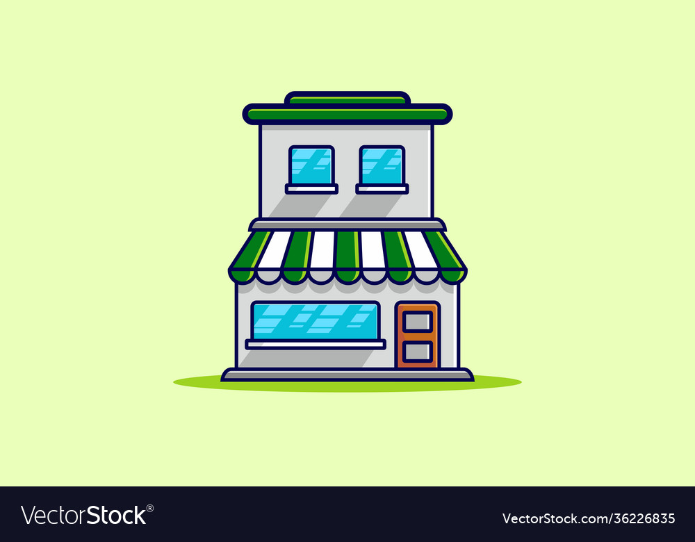 Green two floors store building