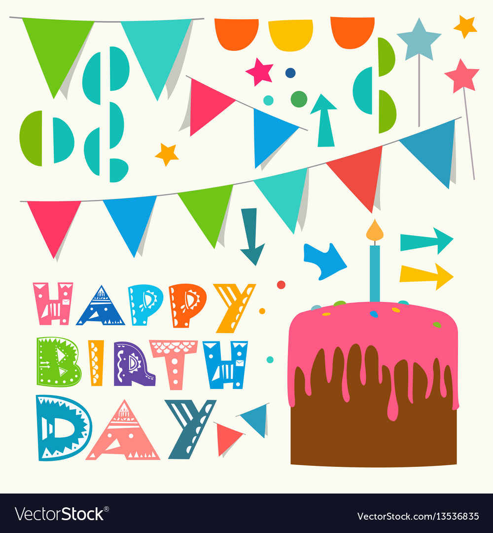 Happy birthday greeting design elements