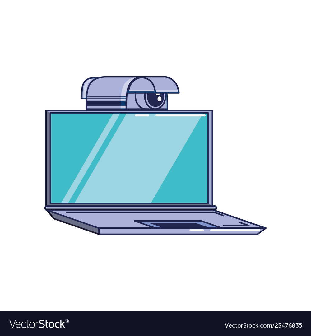 Laptop Computer With Cctv Camera Royalty Free Vector Image