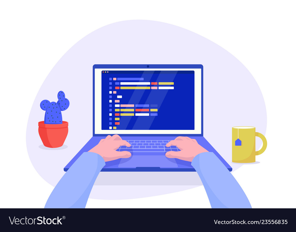 Man programmer working on computer with code