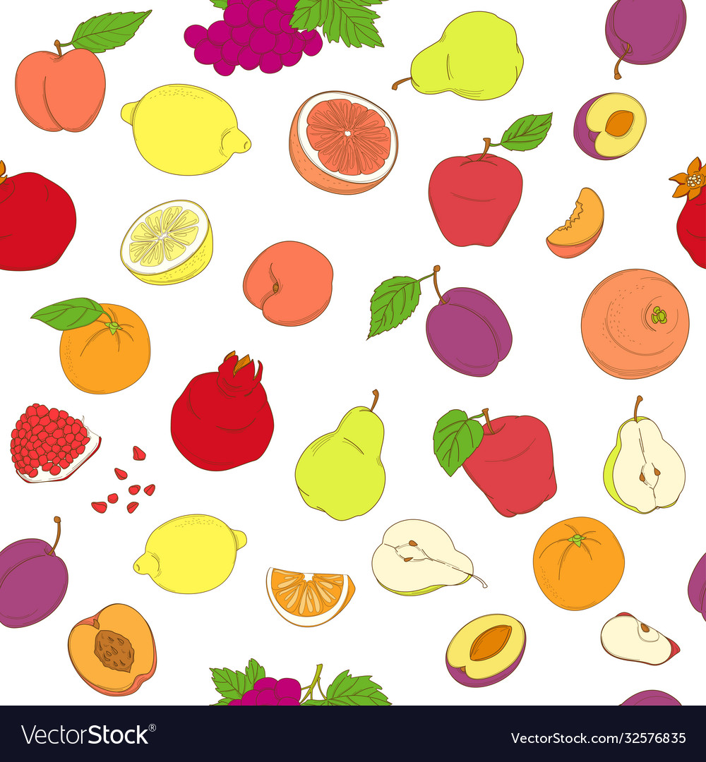 Outline hand drawn seamless colorful fruit