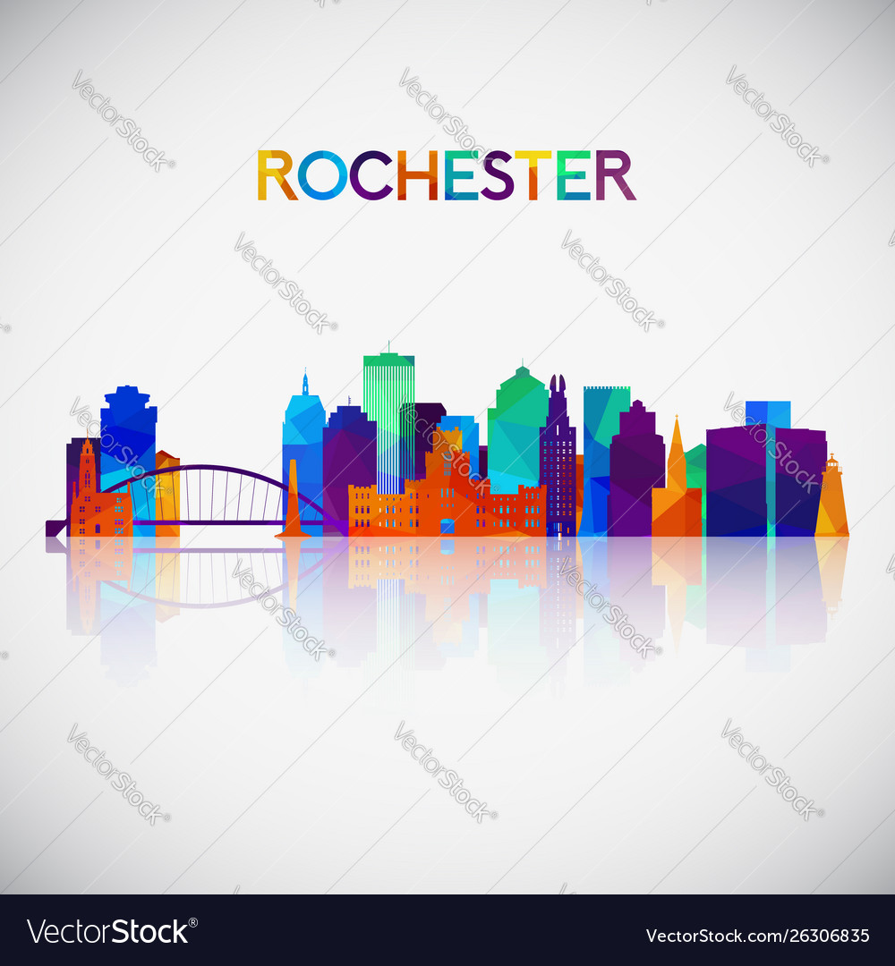 Rochester skyline silhouette in colorful