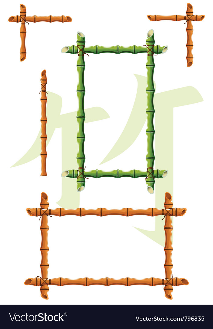 Set of bamboo design elements vector image