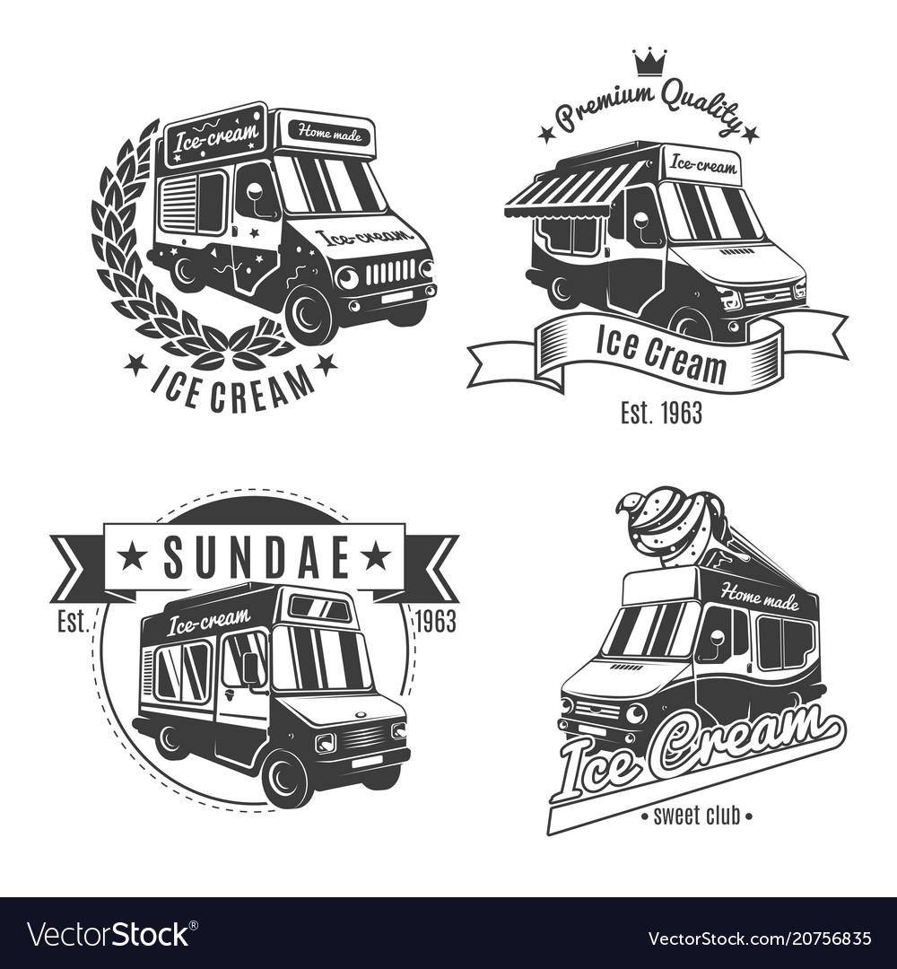 Vintage monochrome food trucks labels set